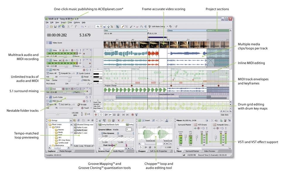 Приложение ACID Pro представляет собой новейшую версию популярного
