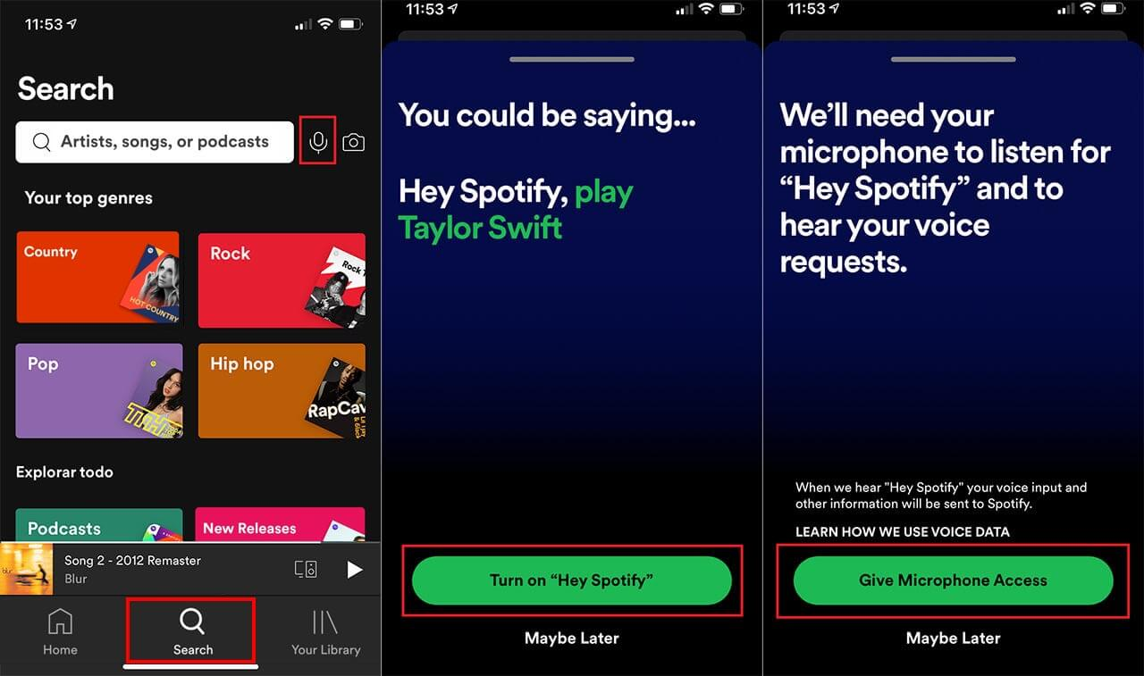 turning on spotify voice control hey spotify