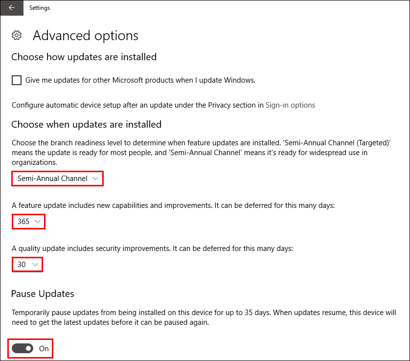 windows 10 prevent update to 1803