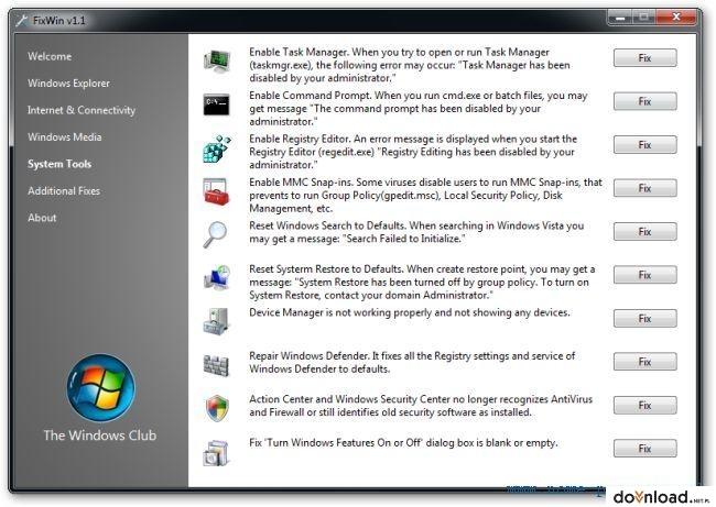 FixWin 10 - dla Windows 10 | System tools